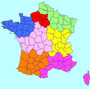carte des régions de France par Olivier Vagneux