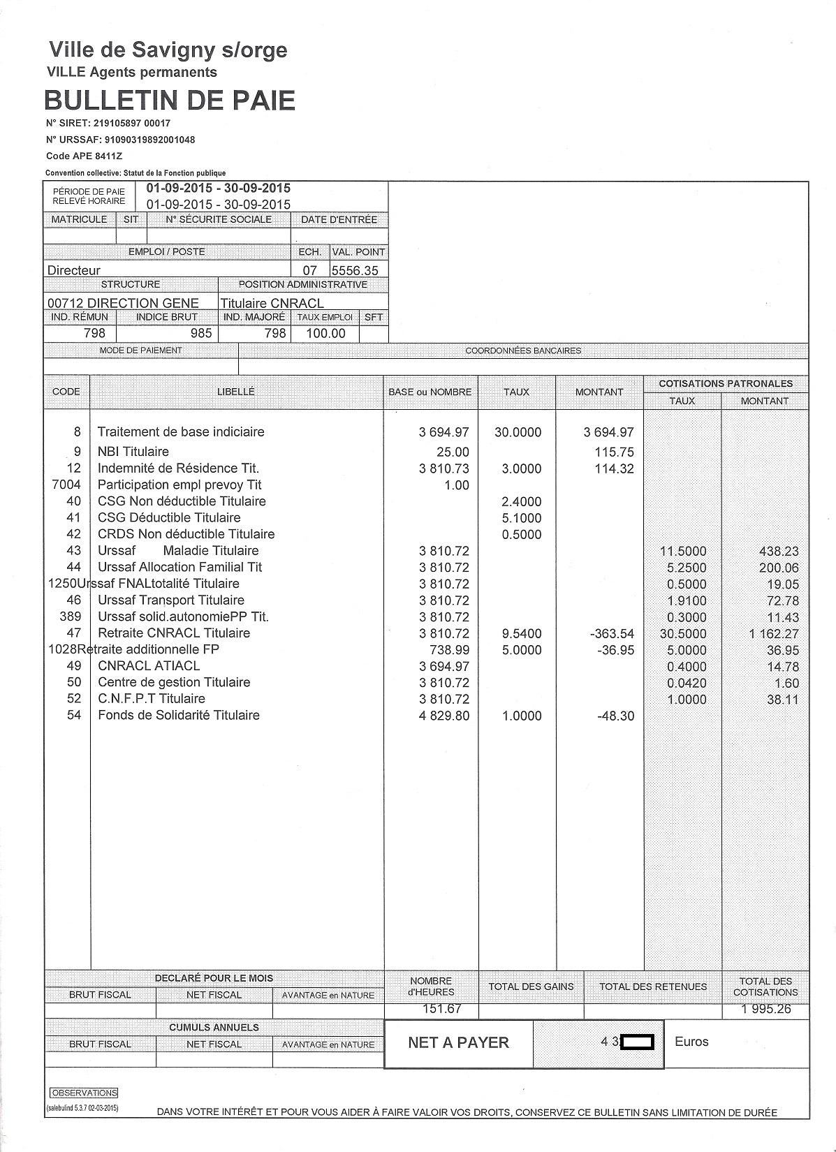 Assez Du droit de publier les bulletins de salaires des agents communaux  DP17