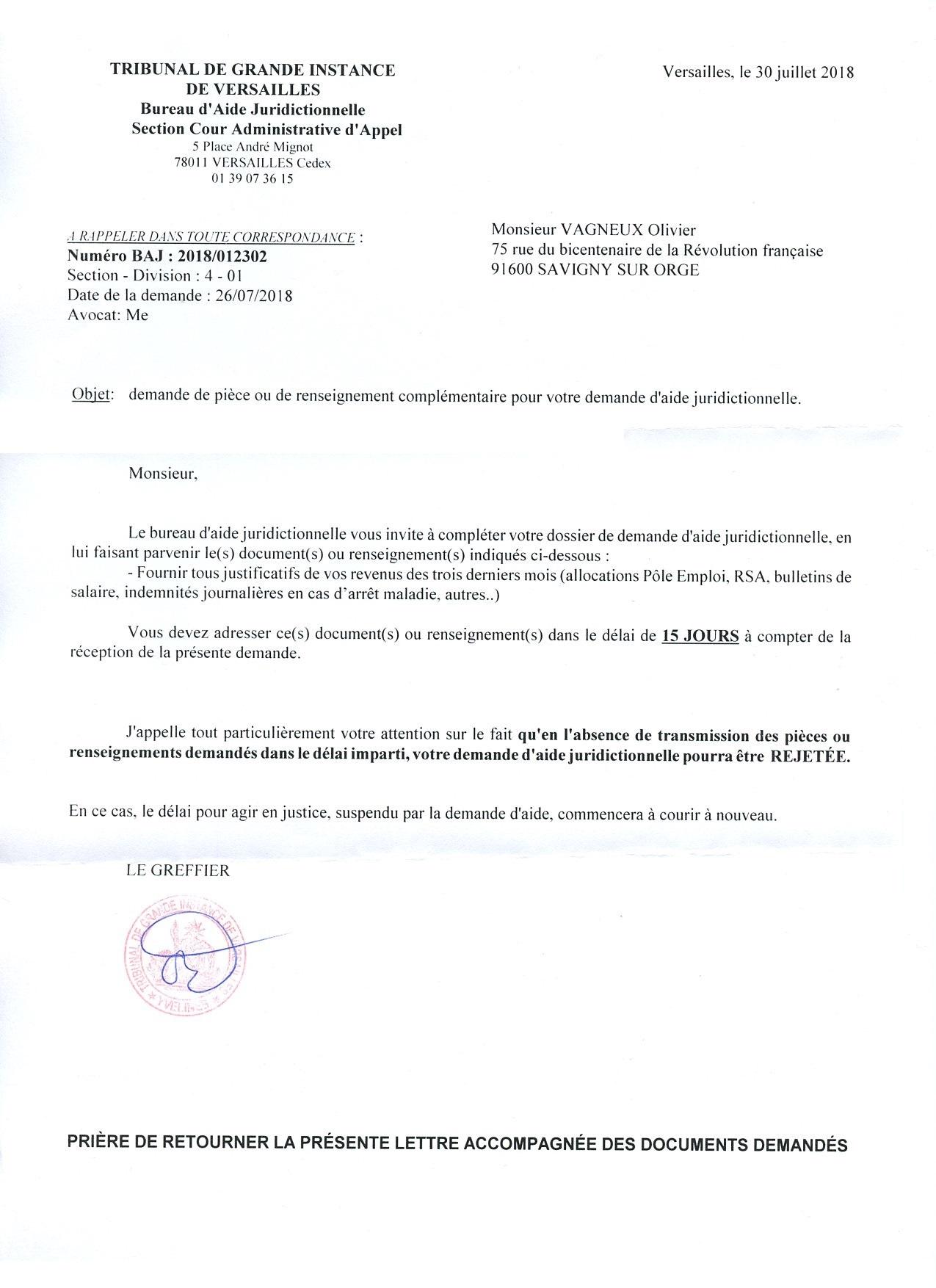 lettre pour compl u00e9ter un dossier administratif