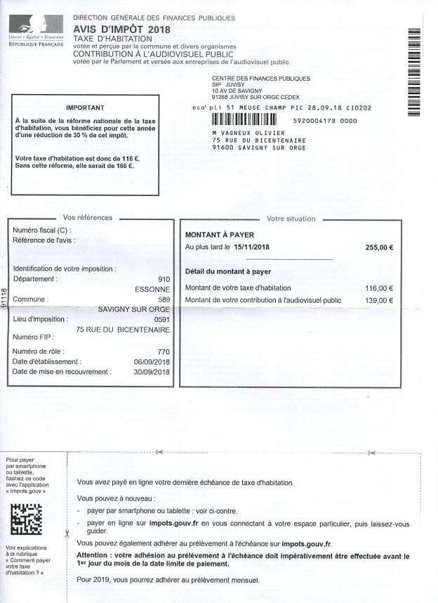 Ma Taxe D Habitation 2018 A Savigny Sur Orge Pour Un Pavillon De 105